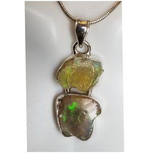 "Jewelry - Colorful Ethiopian Fire Opal Pendant 1.5"" long"